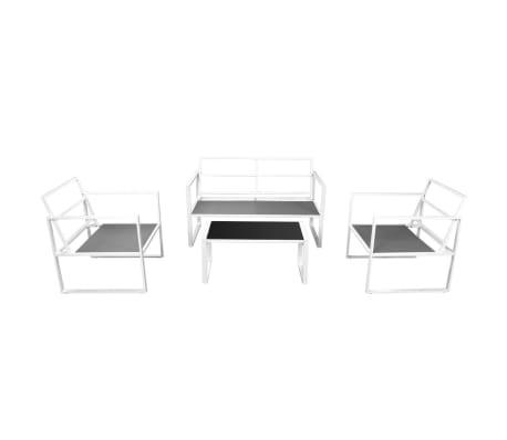 vidaXL 4-cz. zestaw wypoczynkowy do ogrodu, poduszki, stal, biały[4/10]