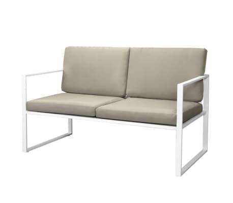 vidaXL 4-cz. zestaw wypoczynkowy do ogrodu, poduszki, stal, biały[5/10]