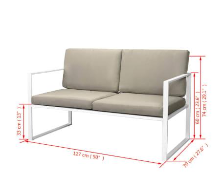 vidaXL 4-cz. zestaw wypoczynkowy do ogrodu, poduszki, stal, biały[8/10]