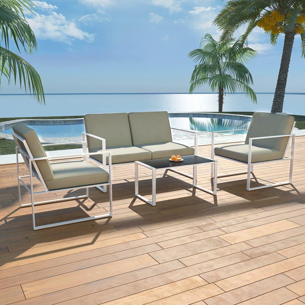 vidaXL Zahradní nábytek sedací souprava, 12 ks, textilen, bílá