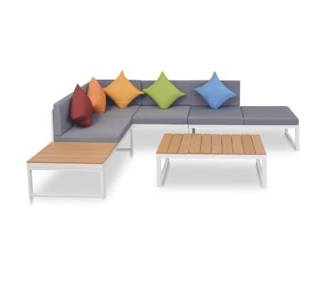 vidaXL Set de muebles de jardín 4 piezas y cojines aluminio y WPC