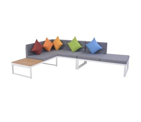 vidaXL Mobilier de jardin 4 pcs avec coussins Aluminium et WPC