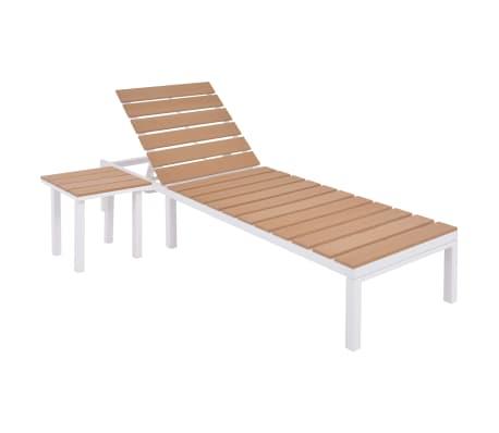 vidaXL Chaise longue avec table Aluminium WPC Blanc et Marron
