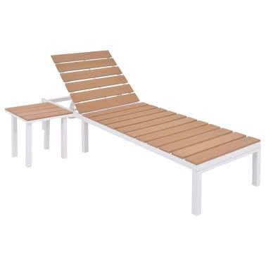 vidaXL Solseng med bord aluminium og WPC brun[2/11]