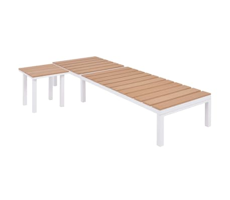 vidaXL Solseng med bord aluminium og WPC brun[3/11]