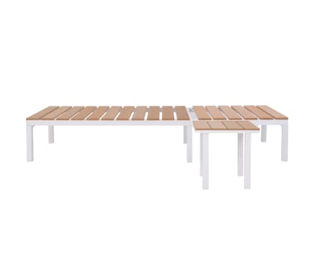 vidaXL Ligbed met tafel aluminium HKC bruin[4/11]