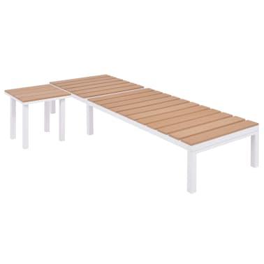vidaXL Ligbed met tafel aluminium HKC bruin[3/11]