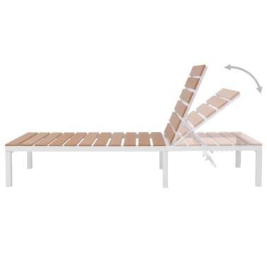 vidaXL Ligbed met tafel aluminium HKC bruin[7/11]