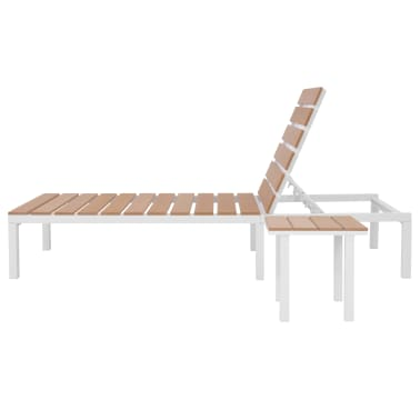vidaXL Ligbed met tafel aluminium HKC bruin[8/11]