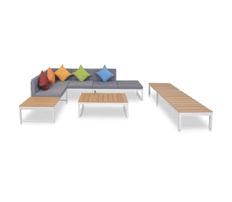 vidaXL 5 Piece Garden Lounge Set with Cushions Aluminium and WPC