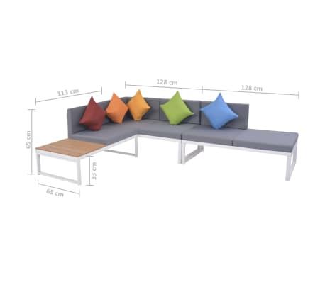 vidaXL 5-daļīgs dārza atpūtas mēbeļu komplekts, matrači, alumīnijs,WPC[12/12]