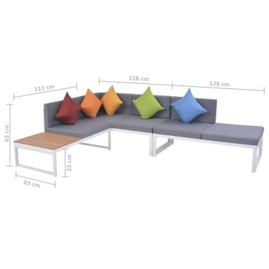 vidaXL 5-dielna záhradná sedacia súprava s vankúšmi hliník a WPC[12/12]