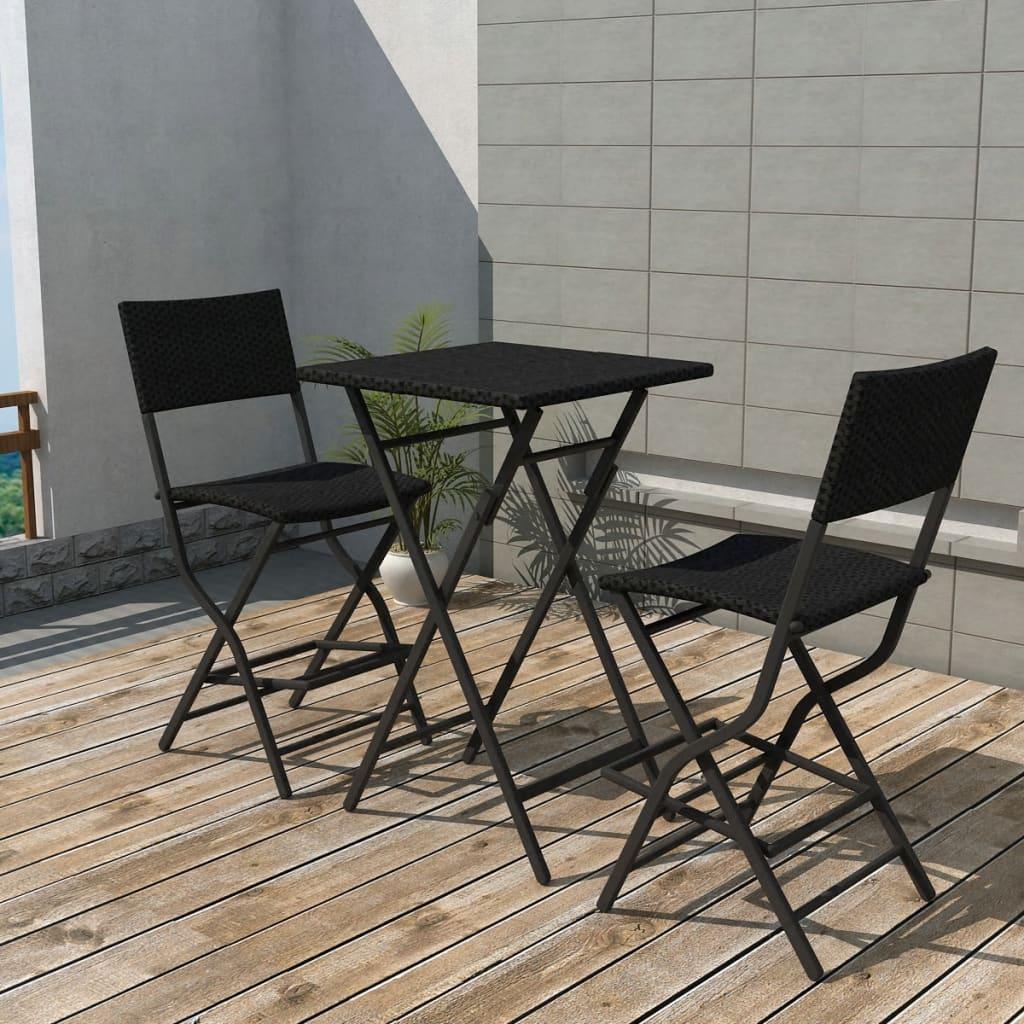 vidaXL Set mobilier bistro pliabil, 3 piese, negru, oțel și poliratan poza 2021 vidaXL
