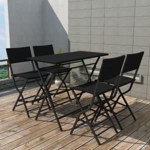 vidaXL 5-daļīgs dārza mēbeļu komplekts, saliekams, tērauds, PE, melns