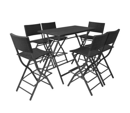 vidaXL Mobilier à dîner pliable jardin 7 pcs Acier Résine tressée Noir