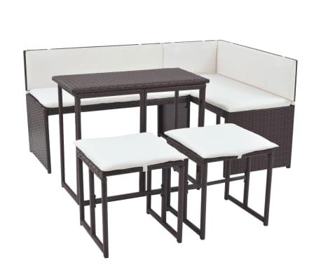 vidaXL Mobilier à dîner d'extérieur 5 pcs Acier Résine tressée Marron