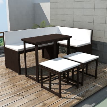 vidaXL Conjunto de sofá de jardín de ratán sintético marrón 12 ...