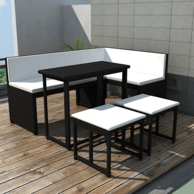 Vidaxl 5 Piece Outdoor Dining Set Steel Poly Rattan Black
