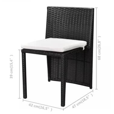 vidaXL Mobilier de bistro 3 pcs avec coussins Résine tressée Noir[8/10]