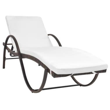 vidaXL Chaise longue avec coussin et table Résine tressée Marron[2/11]