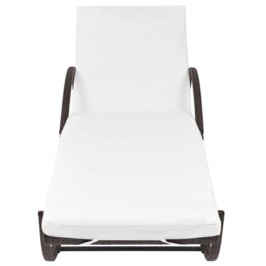 vidaXL Chaise longue avec coussin et table Résine tressée Marron[4/11]