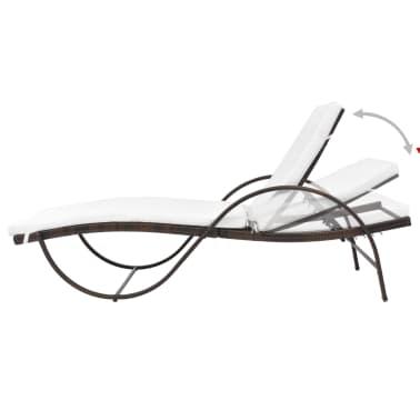 vidaXL Chaise longue avec coussin et table Résine tressée Marron[5/11]