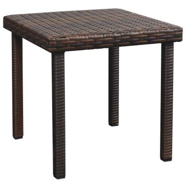 vidaXL Chaise longue avec coussin et table Résine tressée Marron[8/11]