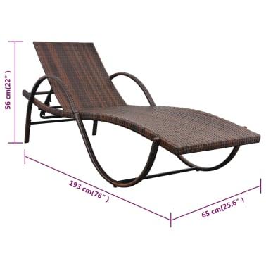 vidaXL Chaise longue avec coussin et table Résine tressée Marron[10/11]