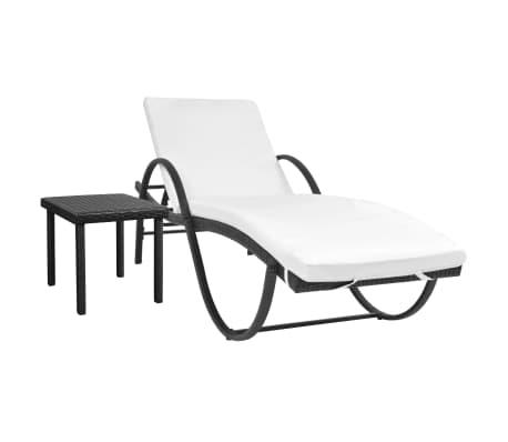 vidaXL Chaise longue avec Table Résine tissée Noir[1/11]