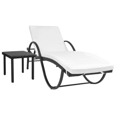 vidaXL Chaise longue avec coussin et table Résine tressée Noir[1/11]
