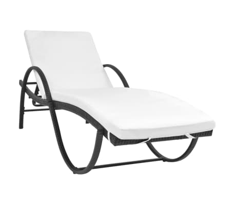 vidaXL Chaise longue avec coussin et table Résine tressée Noir[2/11]