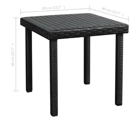 et vidaXL Résine tressée longue coussin avec Chaise table Noir rCBxdoe