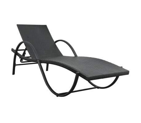 vidaXL Chaise longue avec coussin et table Résine tressée Noir[3/11]