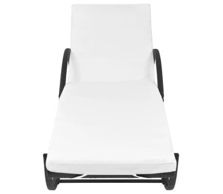 vidaXL Chaise longue avec coussin et table Résine tressée Noir[4/11]