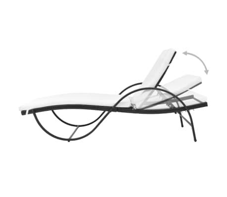vidaXL Chaise longue avec Table Résine tissée Noir[5/11]