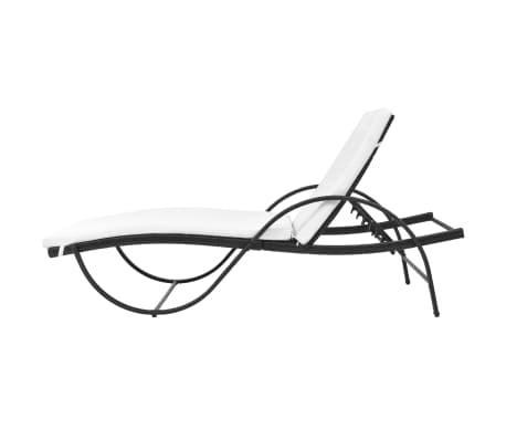 vidaXL Chaise longue avec coussin et table Résine tressée Noir[6/11]