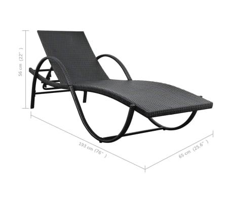 vidaXL Chaise longue avec coussin et table Résine tressée Noir[10/11]