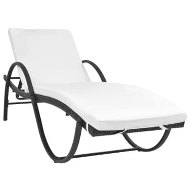 vidaXL Chaise longue avec Table Résine tissée Noir[2/11]
