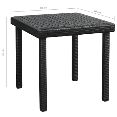 vidaXL Chaise longue avec Table Résine tissée Noir[11/11]