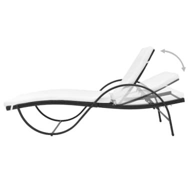 vidaXL Chaise longue avec coussin et table Résine tressée Noir[5/11]