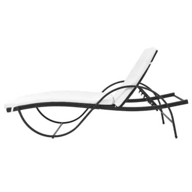 vidaXL Chaise longue avec Table Résine tissée Noir[6/11]