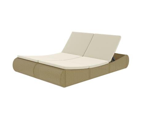 vidaXL Lauko poilsio gultas, poliratanas, smėlio spalva