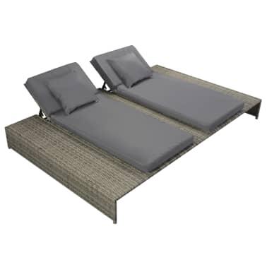 vidaXL Double Sun Lounger with Cushion Poly Rattan Gray[2/6]