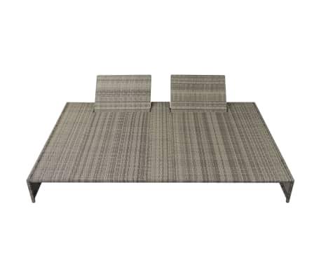 vidaXL Double Sun Lounger with Cushion Poly Rattan Gray[3/6]