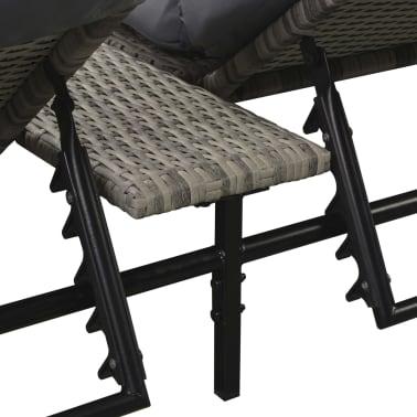 vidaXL Double Sun Lounger with Cushion Poly Rattan Gray[5/6]