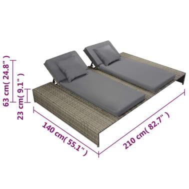 vidaXL Double Sun Lounger with Cushion Poly Rattan Gray[6/6]