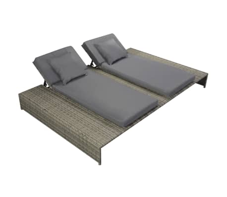 vidaXL Double Sun Lounger with Cushion Poly Rattan Gray[1/6]