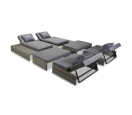 Chaise Lounge Rattan Sintetico.Vidaxl Outdoor Lounge Set 15 Pieces Poly Rattan Gray Vidaxl Com
