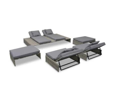 vidaxl garten lounge set 15 tlg poly rattan grau g nstig kaufen. Black Bedroom Furniture Sets. Home Design Ideas
