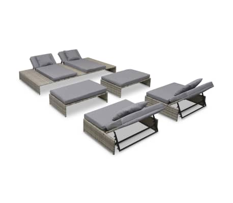vidaxl garten lounge set 15 tlg poly rattan grau g nstig kaufen. Black Bedroom Furniture Sets. Home Design Ideas